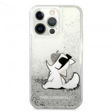 Karl Lagerfeld Liquid Glitter Choupette Fun - Etui iPhone 13 Pro (srebrny)