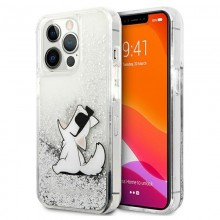 Karl Lagerfeld Liquid Glitter Choupette Fun - Etui iPhone 13 Pro Max (srebrny)