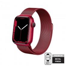 Crong Milano Steel – Pasek ze stali nierdzewnej do Apple Watch 42/44/45 mm (czerwony)