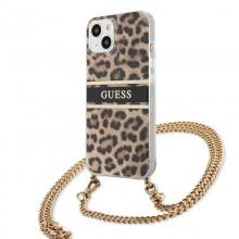 Guess Leopard Gold Stripe Crossbody - Etui iPhone 13 Mini