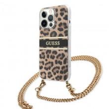 Guess Leopard Gold Stripe Crossbody - Etui iPhone 13 Pro