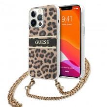Guess Leopard Gold Stripe Crossbody - Etui iPhone 13 Pro Max