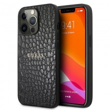 Guess Croco Stamp Lines - Etui iPhone 13 Pro Max (czarny)