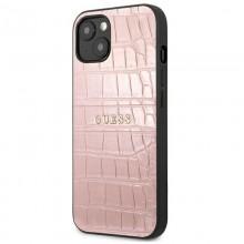 Guess Croco Stamp Lines - Etui iPhone 13 (różowy)