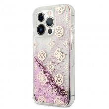 Guess Peony Liquid Glitter - Etui iPhone 13 Pro (różowy)