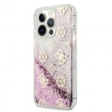 Guess Peony Liquid Glitter - Etui iPhone 13 Pro Max (różowy)