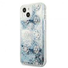 Guess Peony Liquid Glitter - Etui iPhone 13 (niebieski)