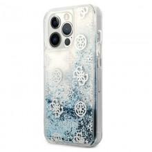 Guess Peony Liquid Glitter - Etui iPhone 13 Pro Max (niebieski)