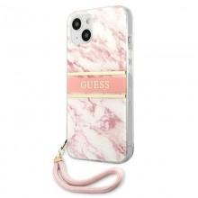 Guess Marble Strap - Etui iPhone 13 Mini (różowy)