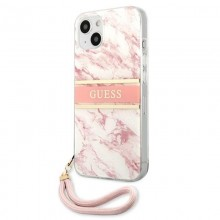 Guess Marble Strap - Etui iPhone 13 (różowy)