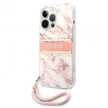 Guess Marble Strap - Etui iPhone 13 Pro Max (różowy)