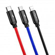 BASEUS 3IN1 TYPE-C & LIGHTNING & MICRO-USB CABLE 120CM BLACK